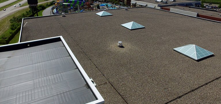 Kalahari Resort Wisconsin aerial view of new roofing