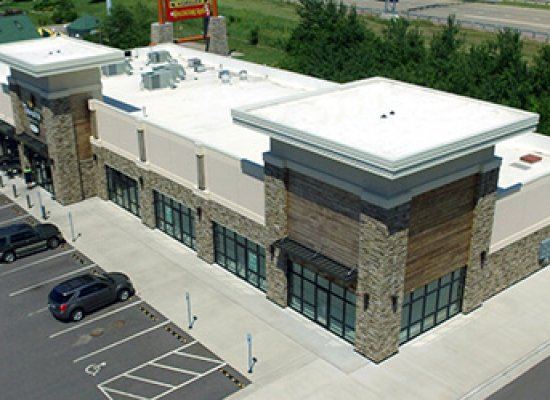Commercial property with rubber roofing
