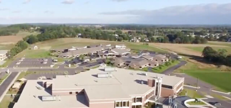 Divine Savior Health Campus in Portage, WI aerial view of new roofing