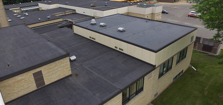 Rubber Roofing project on Wisconsin Dells High School in Wisconsin Dells